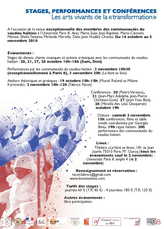 Programme des activités au théâtre Le Vent se Lève